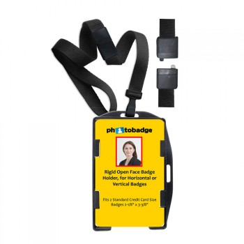 MRI Safe Rigid Plastic Dual Use Open-Face 2-Card Holder with Black Lanyard 50 pack