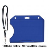 Badge Holder & Round Lanyard Combo Pack Hoz - 100 sets