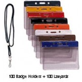 Color Coded Vinyl C/Card Badge Holder + Round Nylon Lanyard - 100 pack