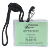 "Vinyl 3"" x 4"" Conference Badge Holder + 38"" Round Nylon Lanyard - 100 pack"