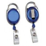Badge Reel Carabiner Style Translucent with Belt Clip - 10 pack