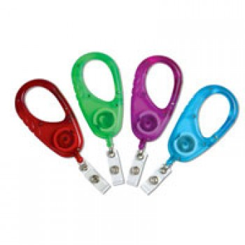 Large Translucent Carabiner Badge Reel - 10 pack