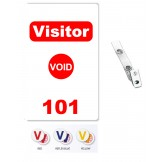 Custom Printed Numbered Self Expiring PVC Visitor Badges + Strap Clips - 10 pack