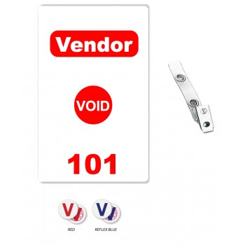 Custom Printed Numbered Self Expiring PVC Vendor Badges + Strap Clips - 10 pack