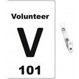 Custom Printed Numbered PVC Vendor Badges + Strap Clips - 100 pack