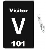 Custom Printed Numbered Black PVC Visitor Badges + Strap Clips - 10 pack