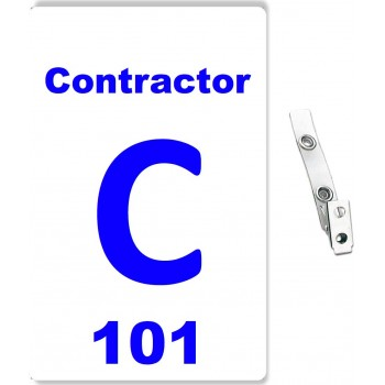 Custom Printed Numbered PVC Contractor Badges + Strap Clips - 50 pack