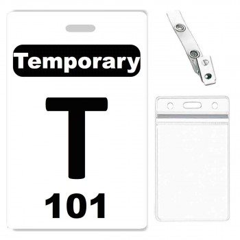 Custom Printed Numbered PVC Temporary Badge , Zipper Badge Holders + Strap Clips - 10 pack