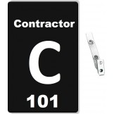 Custom Printed Numbered Black PVC Contractor Badges + Strap Clips - 10 pack