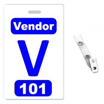 Custom Printed Numbered PVC Badges + Strap Clips - 50 pack