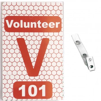 Custom Numbered White PVC 2 Panel Hex Badge with Clear Vinyl 2 Hole Strap Clip - 50 Pcs Pack