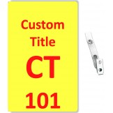 Custom Printed Yellow Numbered PVC Badges + Strap Clips - 10 pack