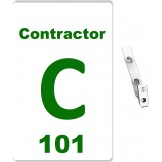 Custom Printed Numbered PVC Contractor Badges + Strap Clips - 100 pack