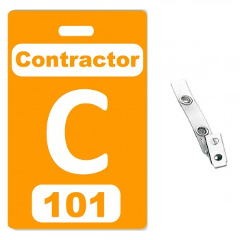 Custom Printed Numbered Orange PVC Contractor Badges - 10 pack