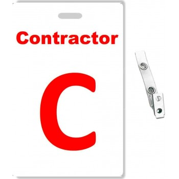 Custom Printed PVC Contractor Badges + Strap Clips - 10 pack