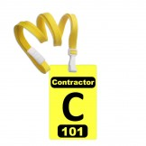 "Numbered Yellow PVC 2 Panel Custom Badge with + Yellow 3/8"" Break Away Lanyard- 10 Pcs Pack"