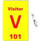 Custom Printed Numbered Yellow PVC Visitor Badges + Strap Clips - 10 pack