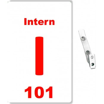 Custom Printed Numbered PVC Intern Badges + Strap Clips - 10 pack