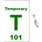 Custom Printed Numbered PVC Temporary Badges + Strap Clips - 10 pack
