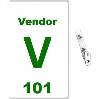 Custom Printed Numbered PVC Vendor Badges + Strap Clips - 10 pack