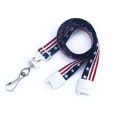 "Stars & Stripes 5/8"" Breakaway Lanyard w/steel swivel hook - 100 pack"