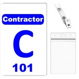 Custom Printed Numbered PVC Contractor Badge, Zipper Badge Holders + Strap Clips - 10 pack