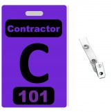 Custom Printed Numbered Purple PVC Contractor Badges + Strap Clips - 10 pack
